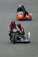 Les Sergent and Sam Hitchman (Feilding) compete in the Classsic Sidecars race one. The 2017 Suzuki series Cemetery Circuit motorcycle racing at Cooks Gardens in Wanganui, New Zealand on Tuesday, 27 December 2017. Photo: Dave Lintott / lintottphoto.co.nz