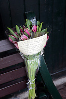 EAST....<br /> WITH STORY....TULIPS WITH MESSAGE<br /> MONDAY 17th MARCH 2014<br /> The tulips and message were left on a bench at the  bus shelter dating from the 1930's in the centre of Neath.