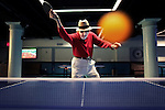 Marty Reisman, 81, 1958 and 1960 U.S. Open table tennis champion, poses for a portrait playing ping pong at Spin New York on Sunday, May 29, 2011 in Manhattan, New York.  (Photograph by Yana Paskova for The New York Times)