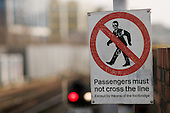Warning sign at Stratfrod station, London.