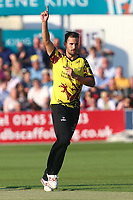 Lewis Gregory of Somerset claims the wicket of Daniel Lawrence during Essex Eagles vs Somerset, NatWest T20 Blast Cricket at The Cloudfm County Ground on 13th July 2017