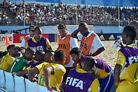 ESPINHO, PORTUGAL, 12.07.2015 - BEACH SOCCER-MUNDIAL - Jogadores do Brasil durante lance contra o Irã no Mundial da FIIFA de Futebol de Praia 2015, em Espinho, Portugal, neste domingo (Foto: Bruno de Carvalho/Brazil Photo Press)