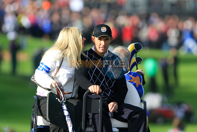 Padraig Harrington, with wife Caroline, make their way back after losing his match on the 16th green in the Day 2 session of the overnight Fourball Match 4 during Day 1 of the The 2010 Ryder Cup at the Celtic Manor, Newport, Wales, 29th September 2010..(Picture Eoin Clarke/www.golffile.ie)