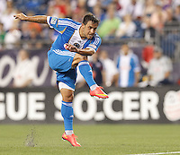 Philadelphia Union forward/midfielder Daniel Cruz (44) follows through on scoring drive.Foxborough, Massachusetts - June 28, 2014:  In a Major League Soccer (MLS) match, Philadelphia Union (blue/white) defeated the New England Revolution (dark blue/white), 3-1, at Gillette Stadium.