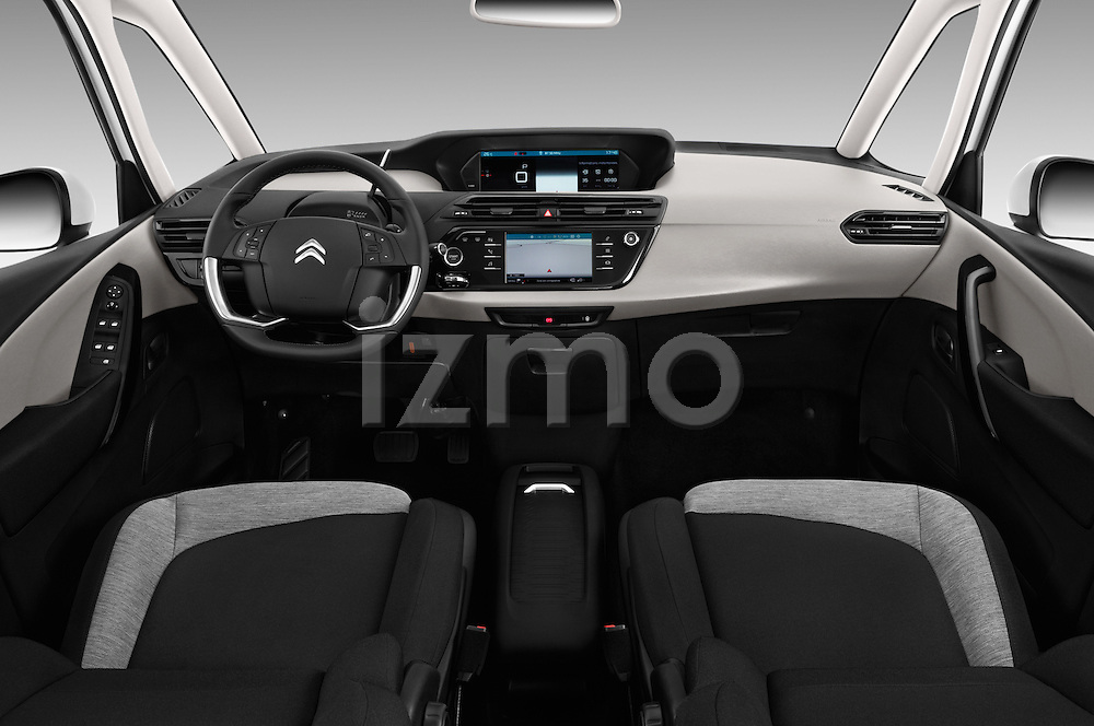 Stock photo of straight dashboard view of 2016 Citroen Grand-C4-Picasso Shine 5 Door Mini MPV Dashboard