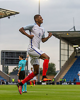 Marcus Rashford (Manchester United) of England celebrates the first goal of his hat trick on his debut during the International EURO U21 QUALIFYING - GROUP 9 match between England U21 and Norway U21 at the Weston Homes Community Stadium, Colchester, England on 6 September 2016. Photo by Andy Rowland / PRiME Media Images.