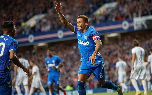 09.08.18 Rangers v Maribor: James Tavernier scores from the spot and celebrates