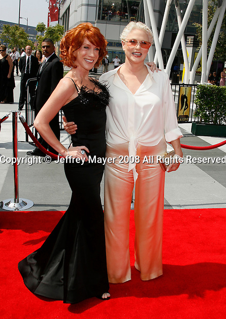 LOS ANGELES, CA. - September 13: Actress Kathy Griffin and Actress Sharon Gless arrive at the 60th Primetime Creative Arts Emmy Awards held at Nokia Theatre on September 13, 2008 in Los Angeles, California.