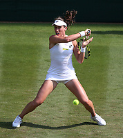 Johanna Konta (GBR) during her match against Dominika Cibulkova (SVK)<br /> <br /> Photographer Rob Newell/CameraSport<br /> <br /> Wimbledon Lawn Tennis Championships - Day 4 - Thursday 5th July 2018 -  All England Lawn Tennis and Croquet Club - Wimbledon - London - England<br /> <br /> World Copyright &not;&copy; 2017 CameraSport. All rights reserved. 43 Linden Ave. Countesthorpe. Leicester. England. LE8 5PG - Tel: +44 (0) 116 277 4147 - admin@camerasport.com - www.camerasport.com