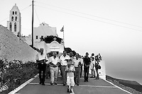Greece, Folegandros island: Procession in the Orthodox church of Panaghia.Grecia,Folegandros: Processione Ortodossa alla chiesa di Panaghia