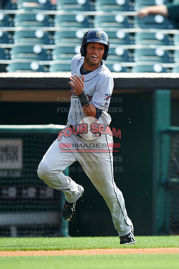 Scranton/Wilkes-Barre RailRiders outfielder Mason Williams (9) rounds third during a game against the Buffalo Bisons on June 10, 2015 at Coca-Cola Field in Buffalo, New York.  Scranton/Wilkes-Barre defeated Buffalo 7-2.  (Mike Janes/Four Seam Images)