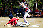 WATERBURY,  CT-071918JS08--Wolcott's Matt Blair (5) slides safely into second base as Diamond Elite's Cameron Schaefer (2) waits on the throw, during their Roberto Clemente tournament game Thursday at Municipal Stadium in Waterbury. <br /> Jim Shannon Republican American