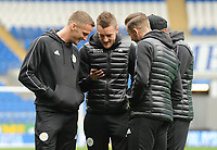 Leicester City's Andy King, Jamie Vardy and James Maddison before todays match<br /> <br /> Photographer Kevin Barnes/CameraSport<br /> <br /> The Premier League -  Cardiff City v Leicester City - Saturday 3rd November 2018 - Cardiff City Stadium - Cardiff<br /> <br /> World Copyright © 2018 CameraSport. All rights reserved. 43 Linden Ave. Countesthorpe. Leicester. England. LE8 5PG - Tel: +44 (0) 116 277 4147 - admin@camerasport.com - www.camerasport.com