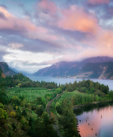 Columbia River sunrise. Near Hood River, Columbia River Gorge National Scenic Area. Oregon