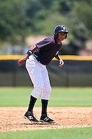 GCL Yankees 1 outfielder Leonardo Molina (18) leads off second during the first game of a doubleheader against the GCL Braves on July 1, 2014 at the Yankees Minor League Complex in Tampa, Florida.  GCL Yankees 1 defeated the GCL Braves 7-1.  (Mike Janes/Four Seam Images)