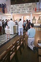 Tenth anniversary of 9/11.  Rebuilding at the World Trade Center site.  Rev. Clayton Crawley leads Sunday morning service at St. Paul's Chapel, across the street from Ground Zero.  Photo by Ari Mintz.  8/7/2011.