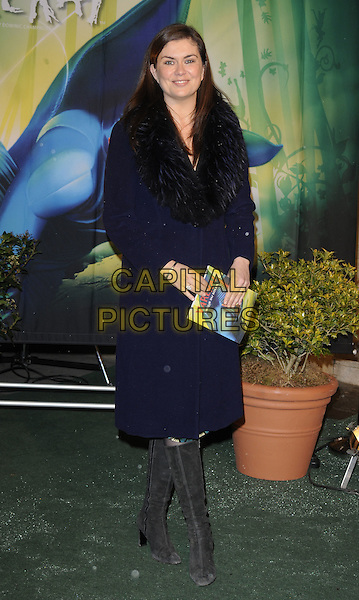 AMANDA LAMB .Arrivals at Cirque du Soleil's Varekai gala opening night at the Royal Albert Hall, London, England. .January 5th, 2009.full length black boots navy blue jacket fur collar trim.CAP/CAN.©Can Nguyen/Capital Pictures.