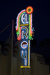 The Art Deco El Rey Theater neon sign on night.