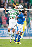 St Johnstone v Celtic...07.05.14    SPFL<br /> Mikael Lustig and Stevie May<br /> Picture by Graeme Hart.<br /> Copyright Perthshire Picture Agency<br /> Tel: 01738 623350  Mobile: 07990 594431