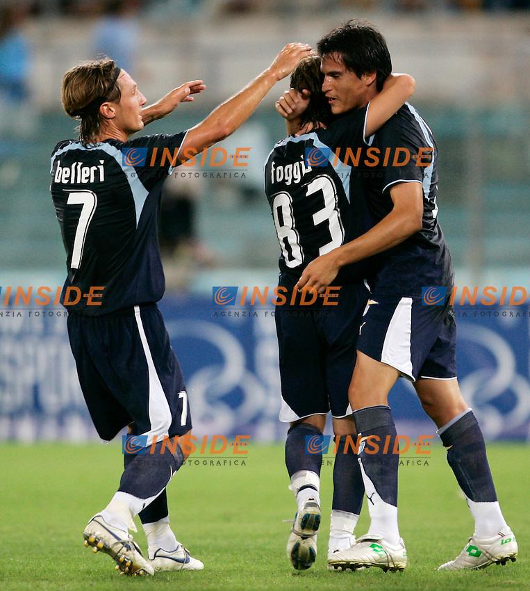 Roma 3/9/2006 Presentazione SS Lazio 2006/2007 e amichevole Lazio Anderlecht 3-2. Photo Andrea Staccioli INSIDE<br /> Cristian LEDESMA festeggiato da Belleri e Foggia dopo il gol