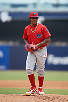 Clearwater Threshers starting pitcher Sixto Sanchez (45) gets ready to deliver a pitch during a game against the Tampa Tarpons on April 22, 2018 at George M. Steinbrenner Field in Tampa, Florida.  Clearwater defeated Tampa 2-1 (Mike Janes/Four Seam Images)