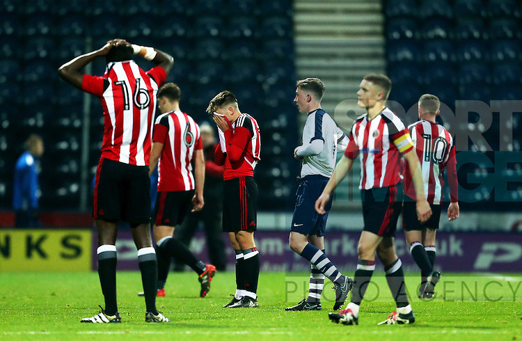 Sheffield United players look dejected at full time during the FA Youth Cup 3rd Round match at Deepdale Stadium, Preston. Picture date: November 30th, 2016. Pic Matt McNulty/Sportimage