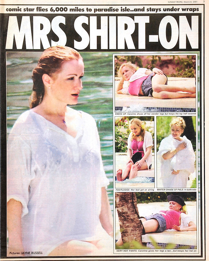 TV Comedian Caroline Aherne takes a break at the Hilton Mauritius. She was there for a Photoshoot with Hello magazine..Sunday People Publication Tearsheet.PIC JAYNE RUSSELL. 25.03.01.