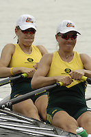 Poznan, POLAND.  2006, FISA, Rowing, World Cup,  AUS1 W2X  bow Catriona  SENS and  Sonia MILLS, move  away from  the  start, on the Malta  Lake. Regatta Course, Poznan, Thurs. 15.05.2006. © Peter Spurrier   .[Mandatory Credit Peter Spurrier/ Intersport Images] Rowing Course:Malta Rowing Course, Poznan, POLAND