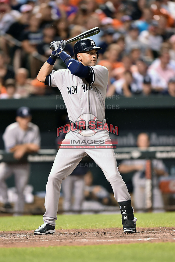 New York Yankees shortstop Derek Jeter #2 awaits a pitch during a game against the Baltimore Orioles at Oriole Park at Camden Yards August 11, 2014 in Baltimore, Maryland. The Orioles defeated the Yankees 11-3. (Tony Farlow/Four Seam Images)
