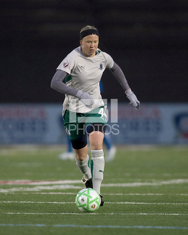 St Louis Athletica defender Sara Larsson (4) brings the ball forward. The Boston Breakers defeated Saint Louis Athletica, 2-0, at Harvard Stadium on April 11, 2009.