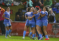 Boyds, MD - Friday Sept. 30, 2016: Christen Press celebrates scoring during a National Women's Soccer League (NWSL) semi-finals match between the Washington Spirit and the Chicago Red Stars at Maureen Hendricks Field, Maryland SoccerPlex. The Washington Spirit won 2-1 in overtime.