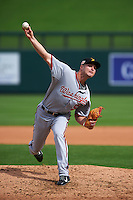 Salt River Rafters pitcher Dakota Bacus (50) delivers a pitch during an Arizona Fall League game against the Surprise Saguaros on October 20, 2015 at Salt River Fields at Talking Stick in Scottsdale, Arizona.  Surprise defeated Salt River 3-1.  (Mike Janes/Four Seam Images)