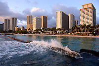 Downtown Honolulu and Waikiki beach at sunset RIGHTS MANAGED LICENSE AVAILABLE FROM www.PhotoLibrary.com