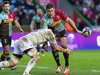 Nick Easter passes the ball, Harlequins v Cardiff Blues in a European Challenge Cup match at Twickenham Stoop, Twickenham, London, England, on 17th January 2016