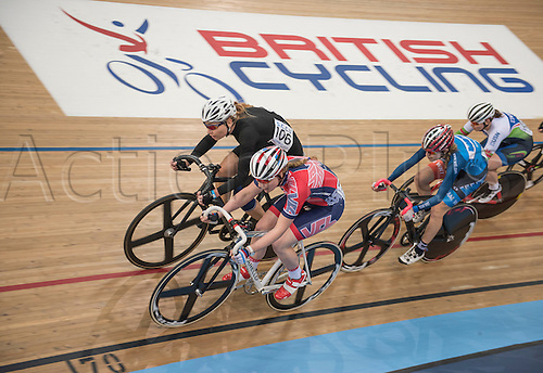 25.03.2016. Lee Valley, Velopark, London, England.  The Good Friday Track Cycling Meeting.  Nikki Kovacs 106 and riders in action in the Female Endurance Race.