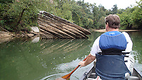 NWA Democrat-Gazette/FLIP PUTTHOFF <br /> Bland nicknamed this boulder &quot;Sliced BreadRock &quot; for obvious     Sept. 15 2015      reasons. Fish on the War Eagle are often caught around large rock, but sliced bread didn't yield a catch.