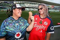 Opposing fans await kickoff. Sydney Roosters v Vodafone Warriors, NRL Rugby League. Allianz Stadium, Sydney, Australia. 31st March 2018. Copyright Photo: David Neilson / www.photosport.nz