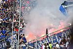14.04.2018, wirsol-Rhein-Neckar-Arena, Sinsheim, GER, 1. FBL, TSG 1899 Hoffenheim vs Hamburger SV, im Bild Feuerwerkskoerper im Hamburger Block<br /><br />Foto &copy; nordphoto / Fabisch