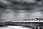 Black and white image of Crystal Pier taken in infrared