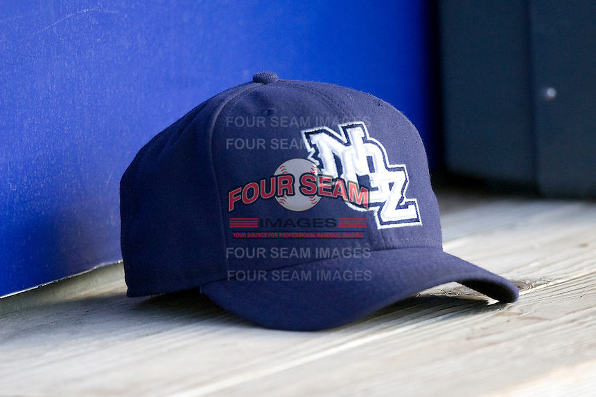 New Orleans Zephyrs hat at the Dell Diamond on July 21, 2011 in Round Rock, Texas. (Andrew Woolley/Four Seam Images)