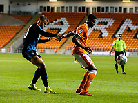 Blackpool's Michael Nottingham shields the ball from West Bromwich Albion U21&rsquo;s Kyle Howkins<br /> <br /> Photographer Alex Dodd/CameraSport<br /> <br /> The EFL Checkatrade Trophy Northern Group C - Blackpool v West Bromwich Albion U21 - Tuesday 9th October 2018 - Bloomfield Road - Blackpool<br />  <br /> World Copyright &copy; 2018 CameraSport. All rights reserved. 43 Linden Ave. Countesthorpe. Leicester. England. LE8 5PG - Tel: +44 (0) 116 277 4147 - admin@camerasport.com - www.camerasport.com
