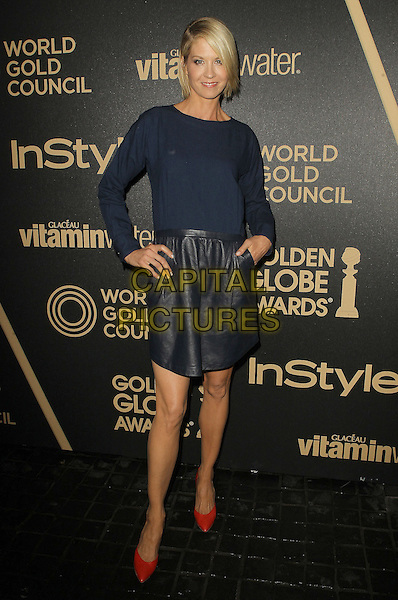 Jenna Elfman.The Hollywood Foreign Press Association And InStyle Miss Golden Globe 2013 Party held at Cecconi's Restaurant, West Hollywood, California,.USA, 29th November 2012..full length blue top leather skirt teal hands on hips red shoes .CAP/ADM/KB.©Kevan Brooks/AdMedia/Capital Pictures.