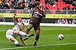 16.03.2019, BWT-Stadion am Hardtwald, Sandhausen, GER, 2. FBL, SV Sandhausen vs FC St. Pauli, <br /> <br /> DFL REGULATIONS PROHIBIT ANY USE OF PHOTOGRAPHS AS IMAGE SEQUENCES AND/OR QUASI-VIDEO.<br /> <br /> im Bild: Kevin Behrens (SV Sandhausen #16) gegen Christopher Avevor (FC St. Pauli #6)<br /> <br /> Foto &copy; nordphoto / Fabisch