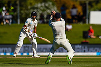 Mark Stoneman of England catches out Jeet Raval of the Black Caps during the final day of the Second International Cricket Test match, New Zealand V England, Hagley Oval, Christchurch, New Zealand, 3rd April 2018.Copyright photo: John Davidson / www.photosport.nz