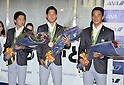 August 17, 2016, Tokyo, Japan : Rio 2016 Summer Olympic Games men's 4x200m Freestyle Relay bronze medallists, (L-R) Naito Ehara, Yuki Kobori and Takeshi Matsuda arrive at Tokyo International Airport in Tokyo, Japan, on August 17, 2016. (Photo by AFLO)