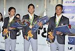 August 17, 2016, Tokyo, Japan : Rio 2016 Summer Olympic Games men's 4x200m Freestyle Relay bronze medallists, (L-R) Naito Ehara, Yuki Kobori and Takeshi Matsuda arrive at Tokyo International Airport in Tokyo, Japan, on August 17, 2016. (Photo by AFLO)
