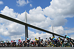 The peloton passes beneath the Viaduc de Millau during Stage 15 of the 2018 Tour de France running 181.5km from Millau to Carcassonne, France. 22nd July 2018. <br /> Picture: ASO/Alex Broadway | Cyclefile<br /> All photos usage must carry mandatory copyright credit (&copy; Cyclefile | ASO/Alex Broadway)