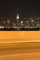 Empire State Building and Manhattan Skyline at Night, Viewed from the Williamsburg neighborhood of Brooklyn
