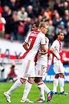 Nederland, AMsterdam, 1 April 2012.Eredivisie.Seizoen 2011-2012.Ajax-Heracles 6-0.Kolbeinn Sigthorsson van Ajax valt na langdurig blessureleed in voor Lorenzo Ebecilio