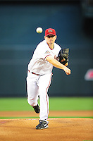 Apr. 26, 2011; Phoenix, AZ, USA; Arizona Diamondbacks pitcher Daniel Hudson against the Philadelphia Phillies at Chase Field. Mandatory Credit: Mark J. Rebilas-